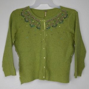 FREE PEOPLE WOMENS SIZE L EMBROIDERED CARDIGAN
